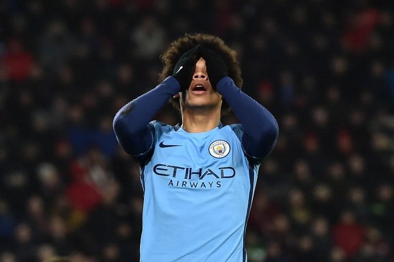 Leroy Sané se lamenta en un partido con el Manchester City