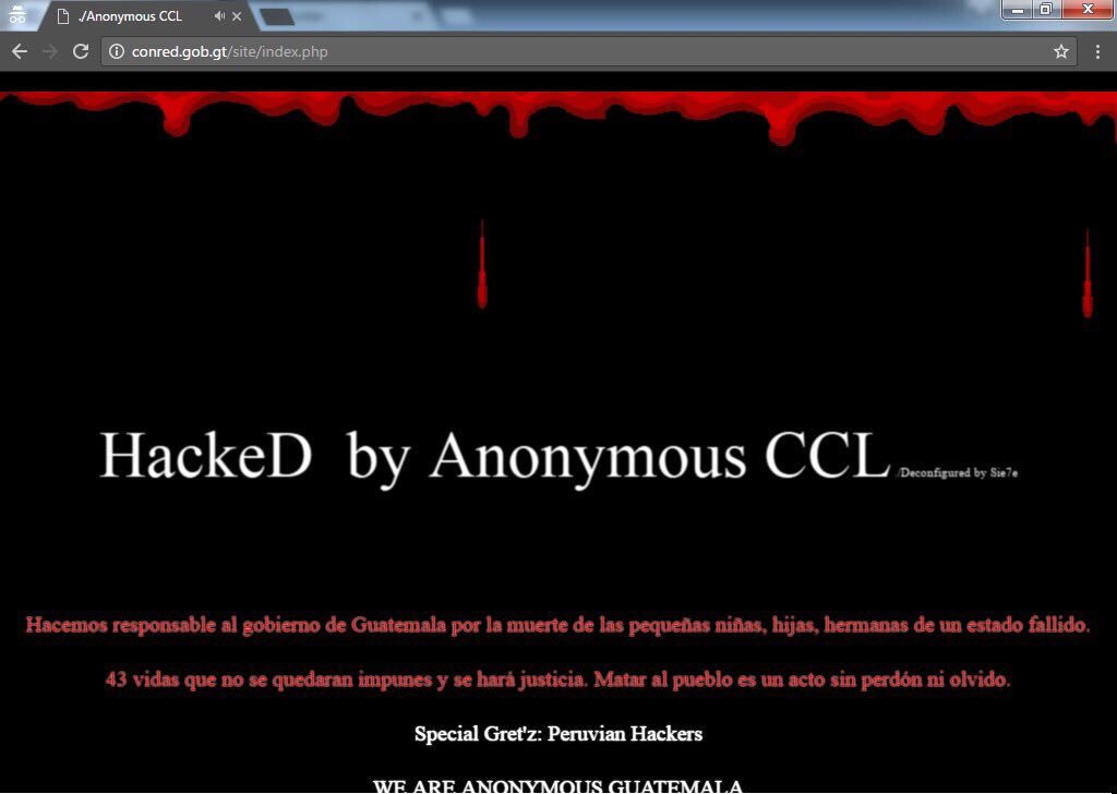 Página de Conred hackeada