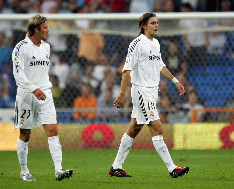 David Beckham y Jonathan Woodgate con el Real Madrid