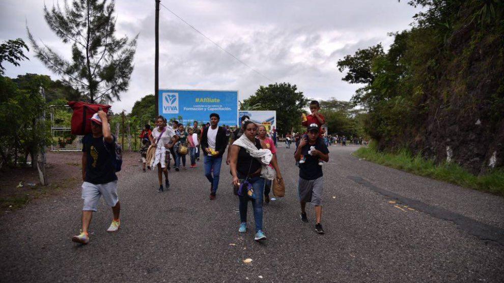 Caravana de hondureños en Guatemala.