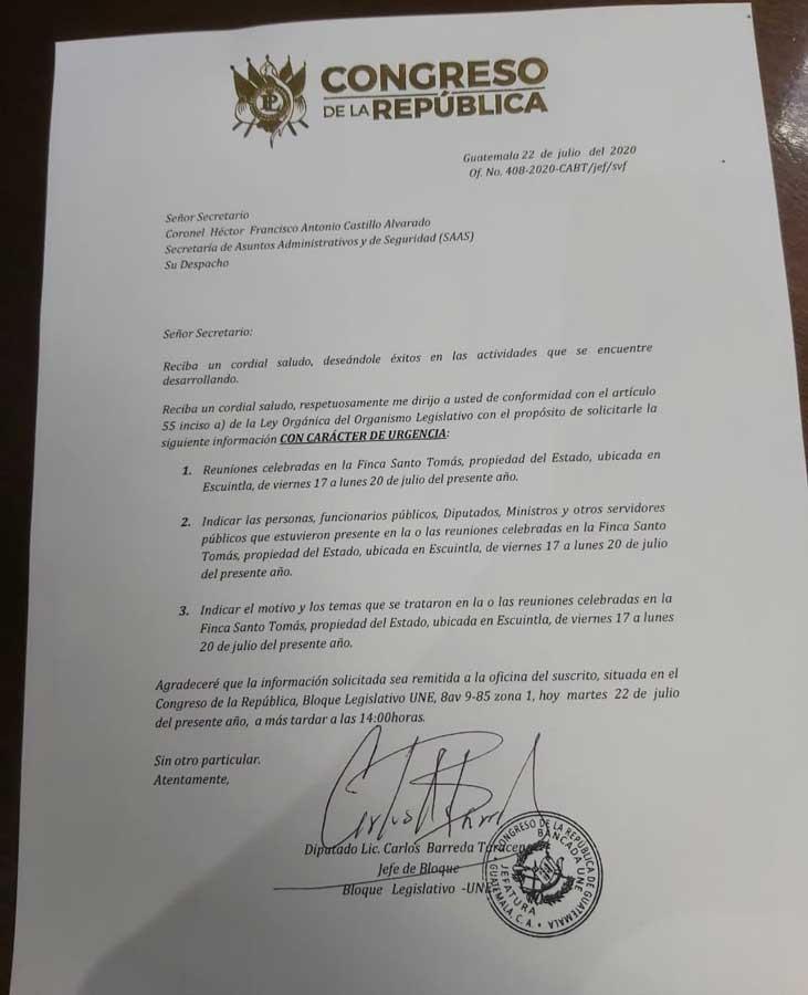 Carta enviada por Carlos Barreda a secretario de SAAS