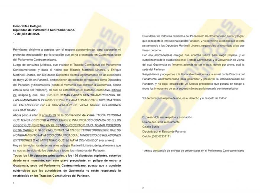 Carta de diputada panameña Gisella Murillo