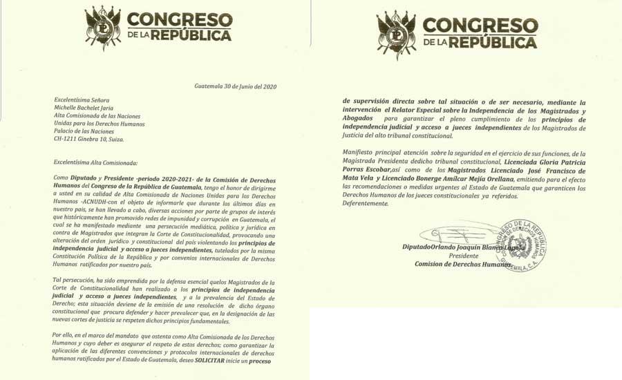 Carta que Orlando Blanco envió a Michelle Bachelet