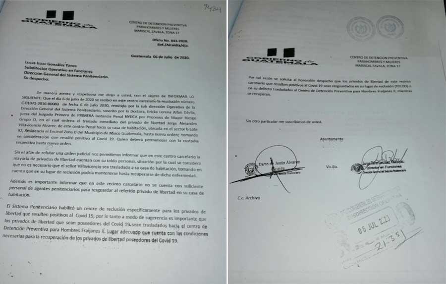 Oficio de Presidios sobre traslado de Jorge Villavicencio