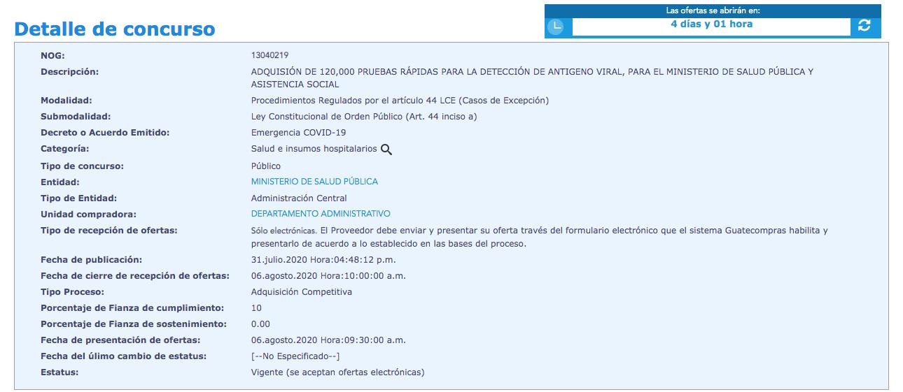 Covid-19: Salud busca adquirir pruebas para la detección de antígeno viral