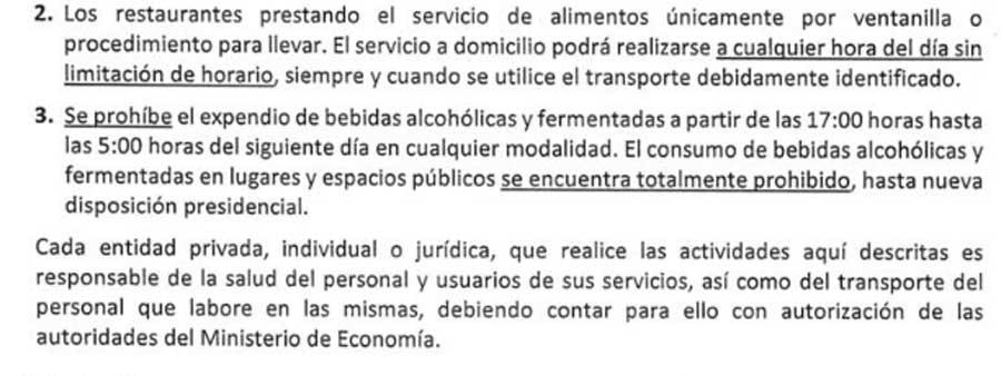 Prohibición de bebidas alcohólicas