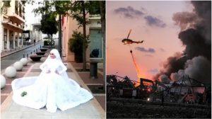 Explosiones en Beirut interrumpen sesión de fotos de novia