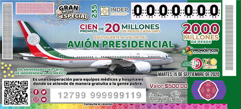 lotería México avión