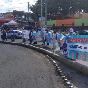 Trabajadores de Calusac realizan plantón pacífico