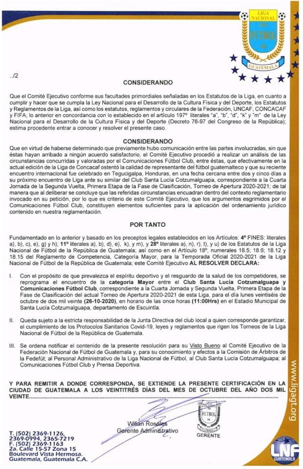 Reprogramación del partido entre Santa Lucía y Comunicaciones