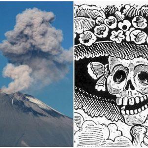Volcán Popocatépetl exhala fumarola con forma de Catrina