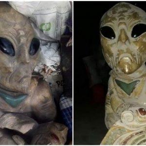 Esculturas de aliens supuestamente halladas en México