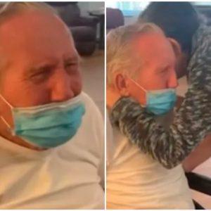 Pareja de abuelitos se reencuentra tras siete meses separados por la cuarentena