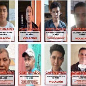 Capturan a ocho sindicados por delitos sexuales.