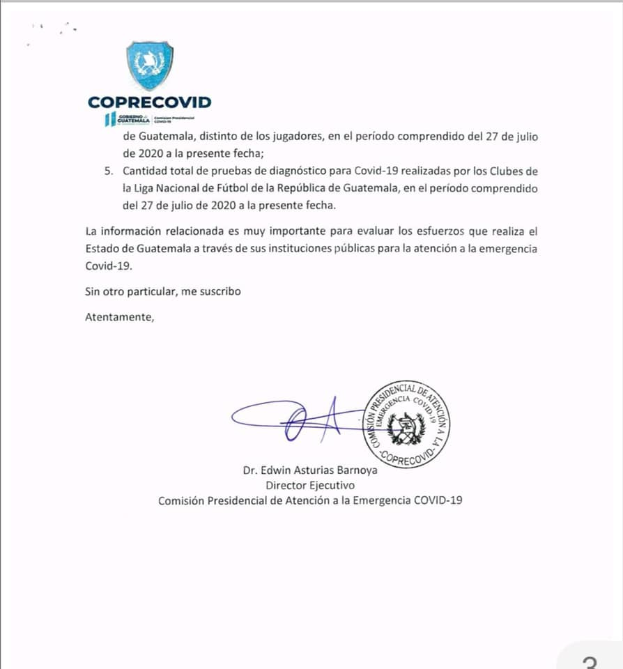 La información que la Coprecovid le pide a Liga Nacional