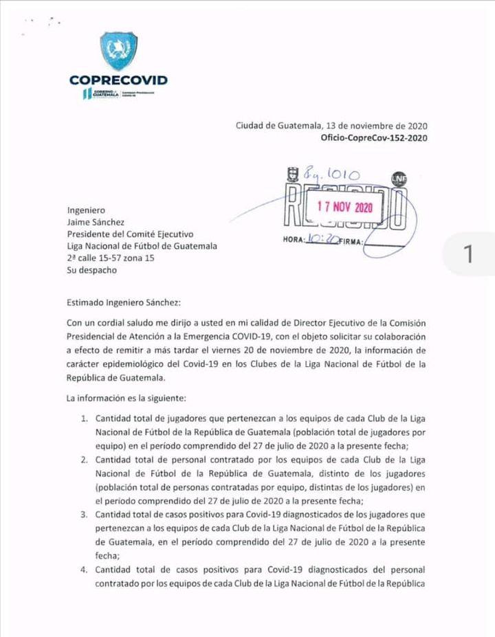 Coprecovid solicita información epidemiológica a Liga Nacional