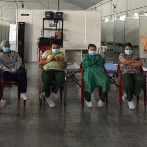 Personal del hospital del Parque de la Industria recibe capacitación para atender a pacientes con COVID-19.