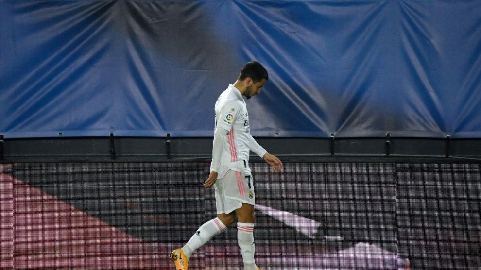 Eden Hazard salió lesionado del partido Real Madrid vs Alavés