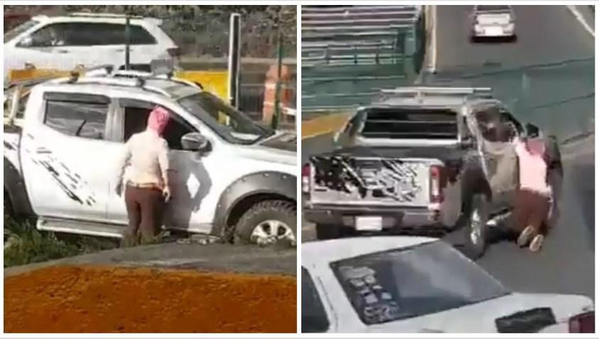 Conductor provoca accidente, arrastra a una mujer y se da a la fuga