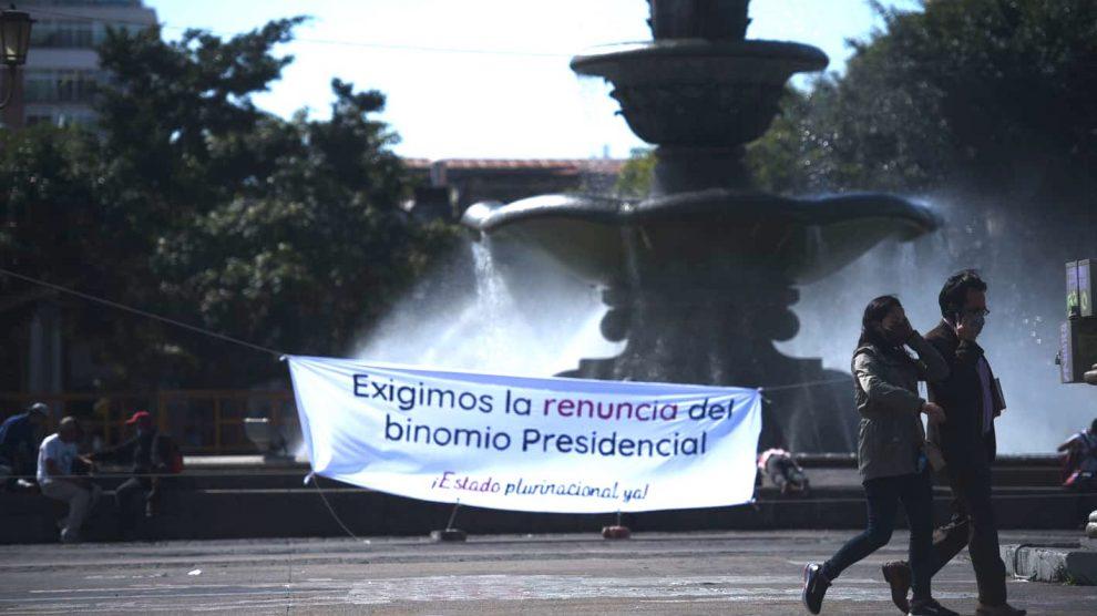 Piden la renuncia de Alejandro Giammattei y de Guillermo Castillo, como presidente y vicepresidente, respectivamente.