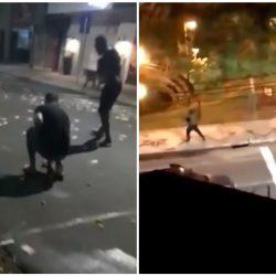 VIDEO. ¡De película! Asaltan banco y dejan decenas de billetes tirados en la calle
