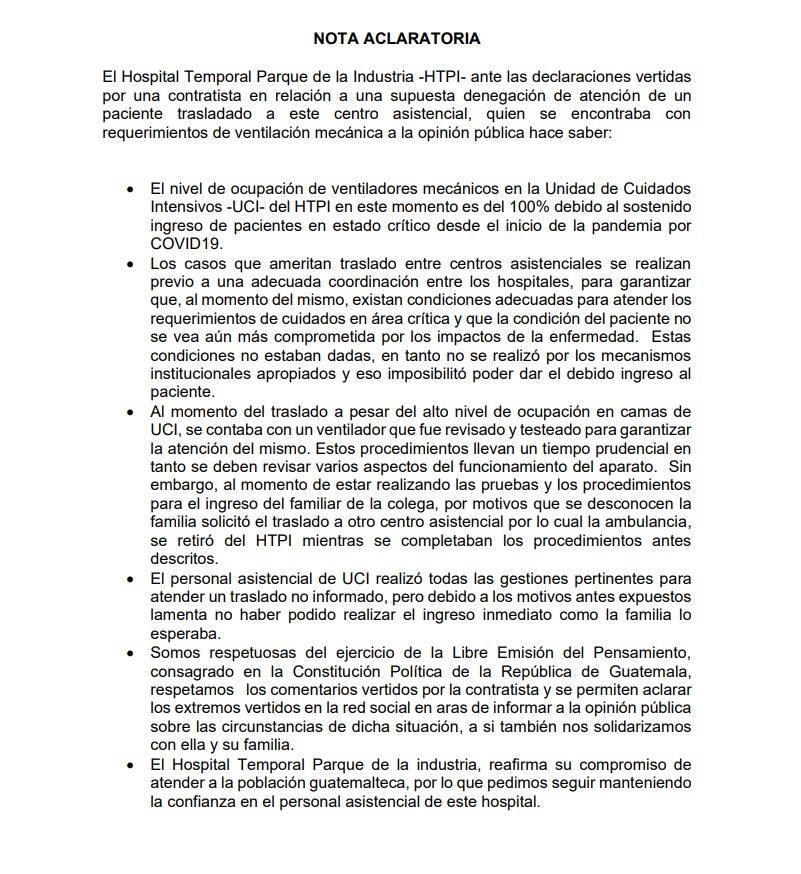Nota aclaratoria del Ministerio de Salud por caso de falta de atención médica a paciente de COVID-19.