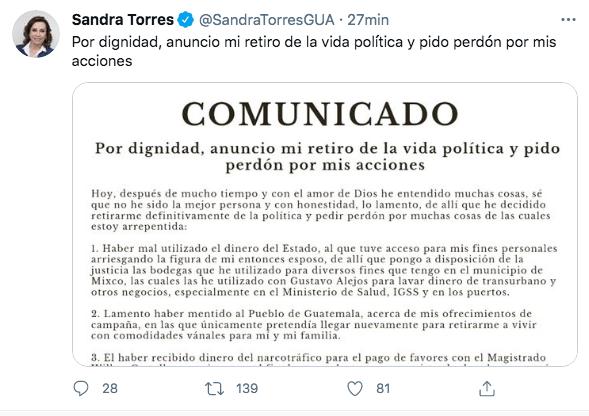 Tuit de Sandra Torres