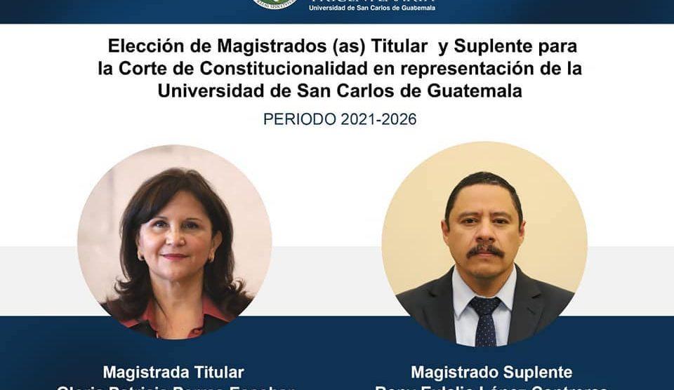 Gloria Porras y Rony López, designados como magistrados ante la Corte de Constitucionalidad (CC) por la Universidad de San Carlos (Usac).