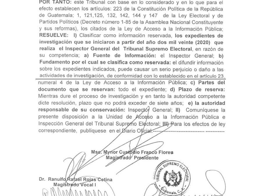 Resolución 10-2021 del TSE