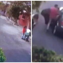 VIDEO. Captan a sujeto asaltando a dos niños que jugaban en la calle