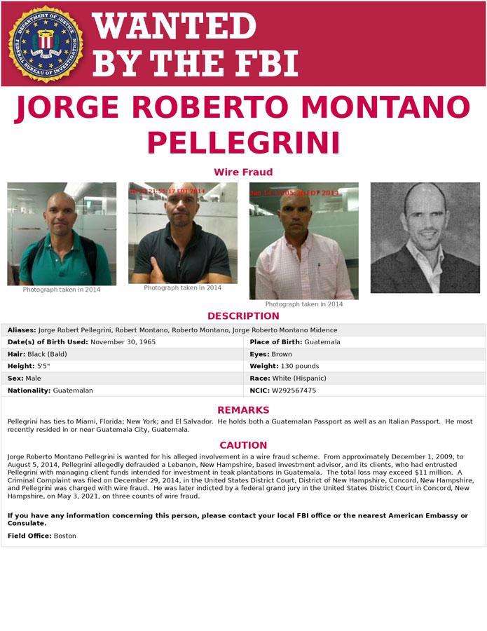 Póster del FBI con información de Roberto Montano Pellegrini