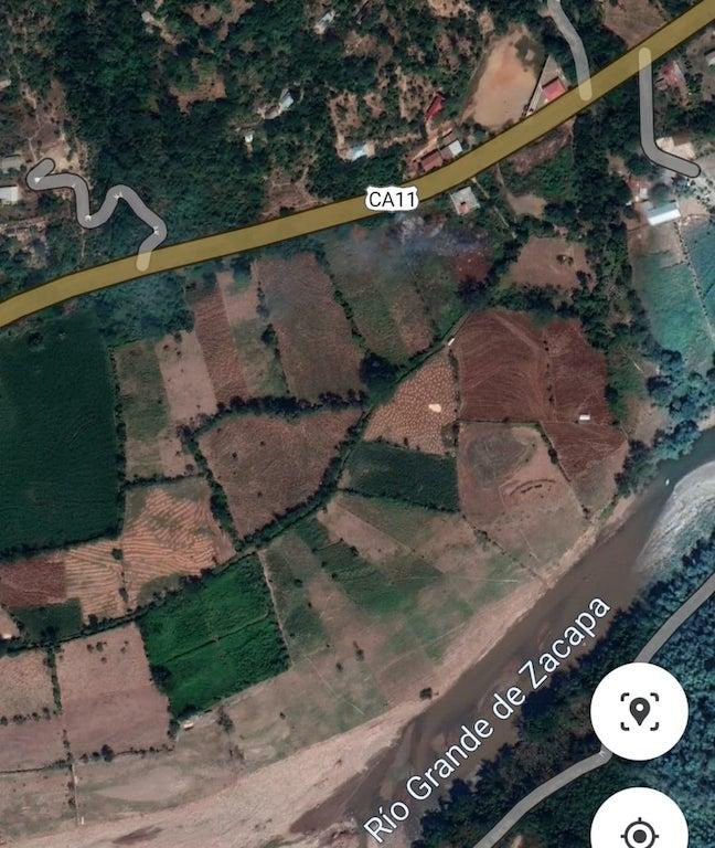 Mapa en relieve del sector en el cual ocurrió el allanamiento en Camotán, en Chiquimula.