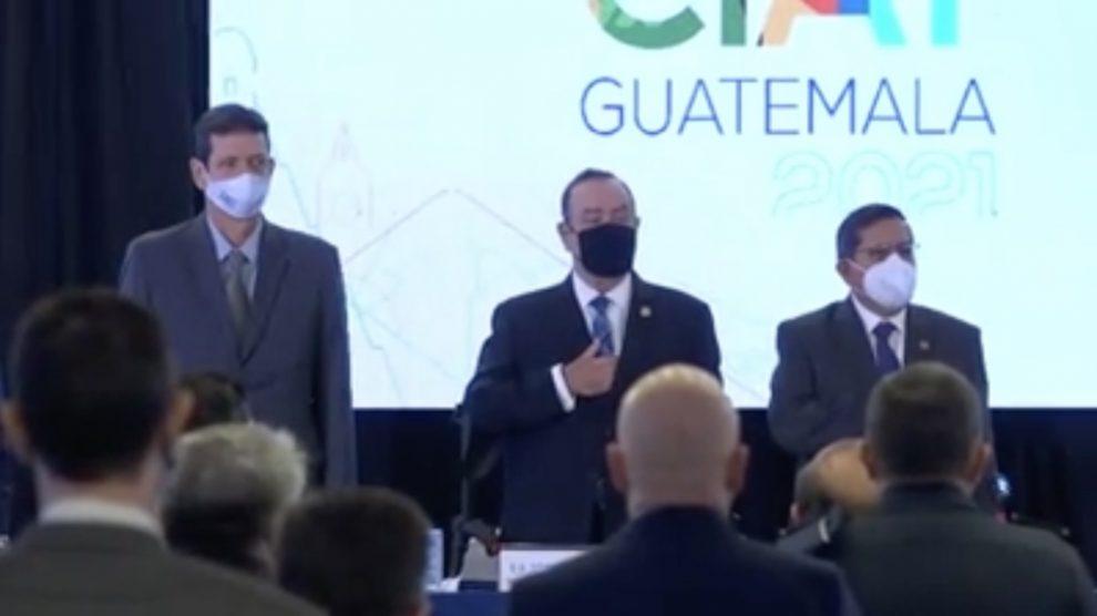 El presidente, Alejandro Giammattei, participa en la asamblea número 55 del Centro Interamericano de Administraciones Tributarias (CIAT).