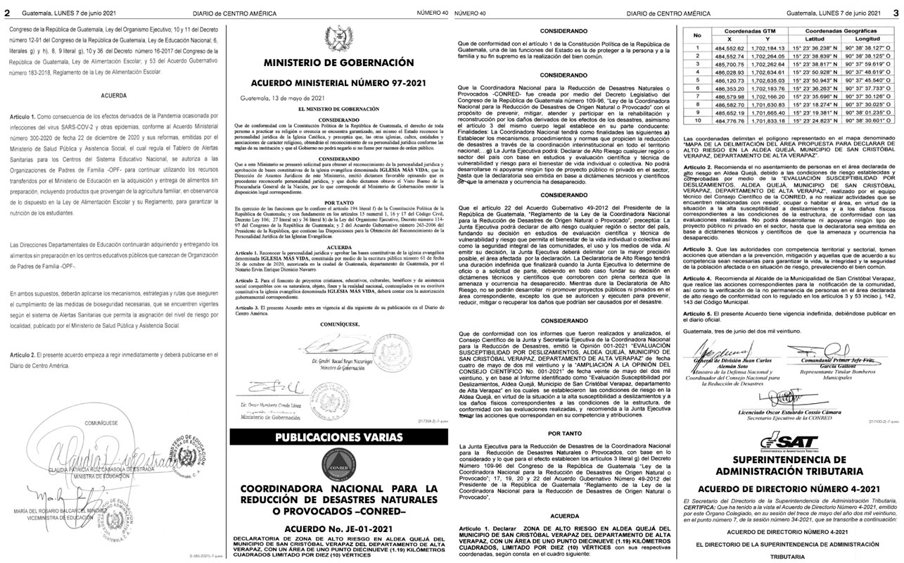 Acuerdo de Conred sobre aldea Quejá