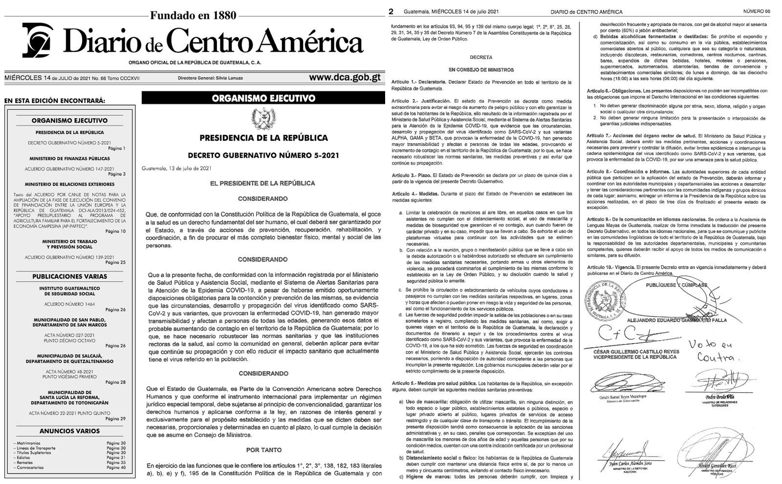Decreto 5-2021, estado de Prevención