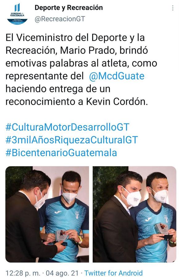 Tuit borrado del reconocimiento de Kevin Cordón por parte del Ministerio de Cultura y Deportes